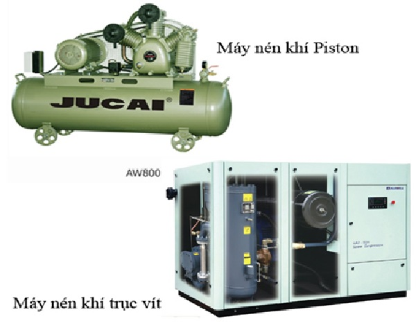 Nguyên lý hoạt động của máy nén khí trục vít và Piston cũng như cấu tạo Piston, cấu tạo máy nén khí Piston và trục vít đều có sự khác biệt